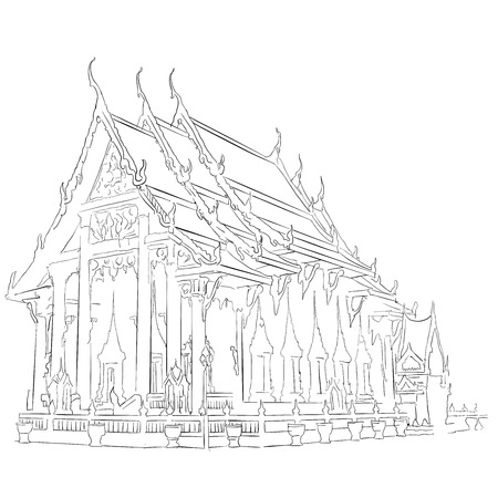 phuket Chaitharam Tempel Wat Chalong, beroemde bestemming Landmark, Hand getrokken Vector Artwork Stock Illustratie
