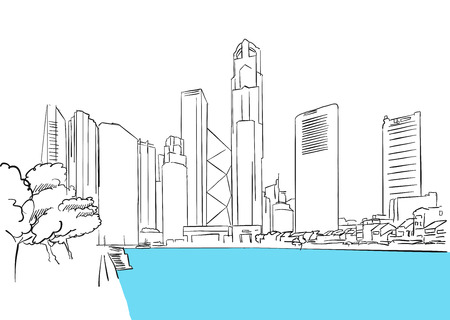 plaza: Singapore Downtown, Finance District Plaza, Famous Destination Landmark, Hand drawn Vector Artwork Illustration