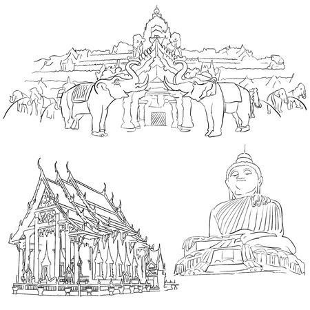 Phuket Thailand, Famous Destination Landmarks, Hand drawn Vector Artwork