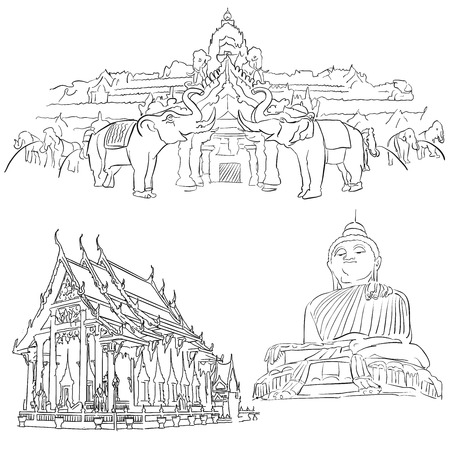 Phuket Thailand, Famous Destination Landmarks, Hand drawn Vector Artwork