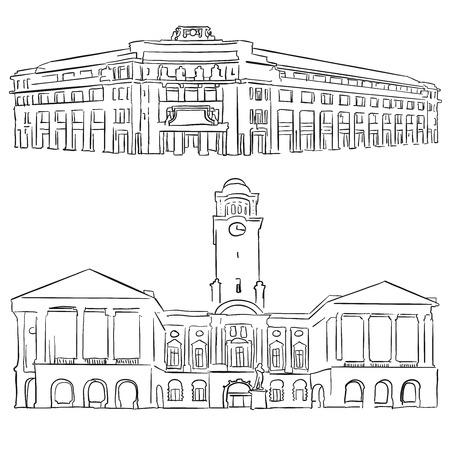 concert hall: Singapore Victoria Concert Hall Historical Theatre, Famous Destination Landmark, Hand drawn Vector Artwork Illustration