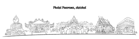 famous places: Phuket Thailand Famous Places Banner Panorama, Hand drawn Vector Artwork