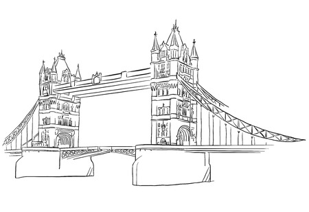 london tower bridge: London Tower Bridge Outline Sketched, Famous Destination Landmark, Hand drawn Vector Artwork