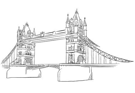 london night: London Tower Bridge Outline Sketched, Famous Destination Landmark, Hand drawn Vector Artwork