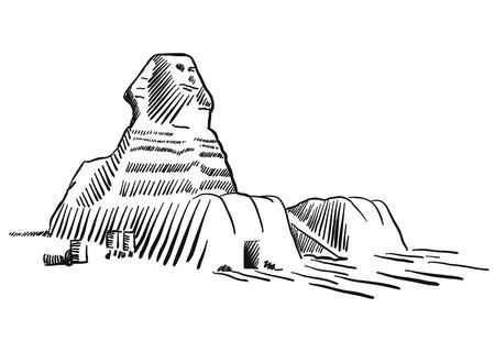 Egypt Sphinx Monument Cairo Sketched, Famous Destination Landmark, Hand drawn Vector Artwork