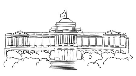 Singapore Istana Presidents residence Sketch, Famous Destination Landmark, Hand drawn Vector Artwork Ilustração