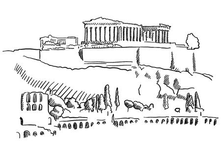 Akropolis von Athen Griechenland Vintage-Skizze, Berühmte Reiseziel Zeichen, Hand gezeichnet Vektor-Grafik