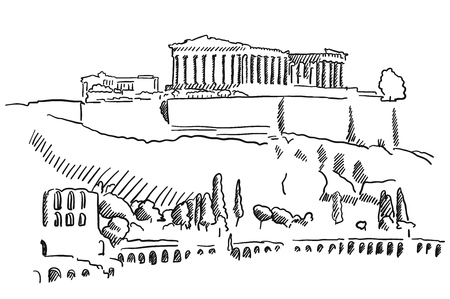 athens: Athens Acropolis Greece Vintage Sketch, Famous Destination Landmark, Hand drawn Vector Artwork Illustration