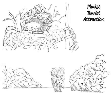 attractions: Phuket Famous Tousist Landmark Attractions, Hand drawn Vector Artwork Illustration