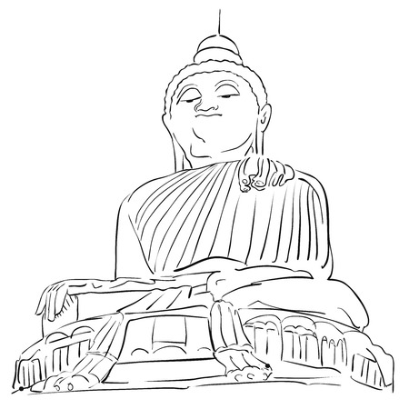 Big Buddha Phuket Outline Sketch, Famous Tourist Lansmark, Hand drawn Artwork Illustration