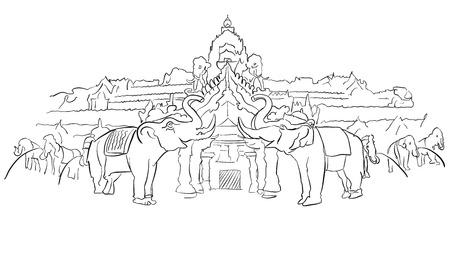 Phuket Fantasea Palace Theatre with Elephants, Famous Destination Landmark, Hand drawn Vector Artwork