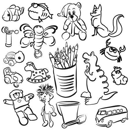 toon: Big Set of Sketched Kids Toys, Vector Outline Toon Artwork