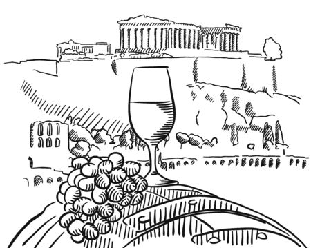 athens: Vine Glass on Barrel in Front of Acropolis, Athens, Vector Sketched Outline Artwork