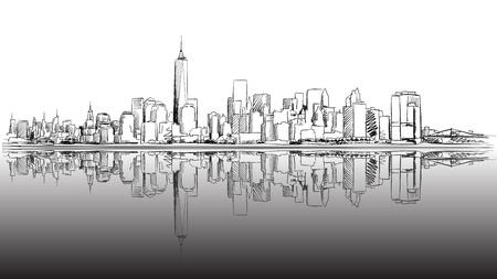 New York City Outline Schets met Dark Footer, Hand Drawn Vector Artwork