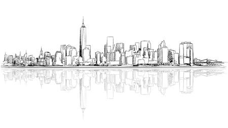 New York City Outline Sketch with Refection, Hand Drawn Vector Artwork