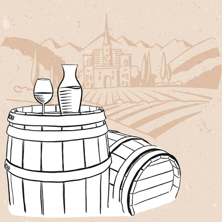 vineyard sunset: Carafe, Glass of Vine on Barrel with Vineyard Vintage Background, Hand drawn Vector Artwork