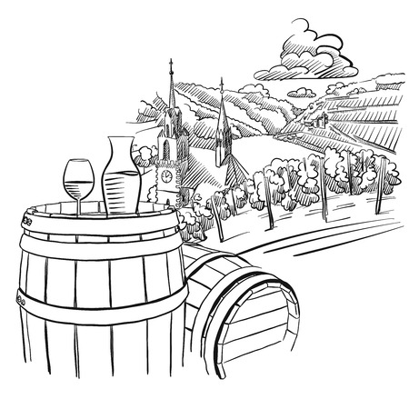 Glas of Wine on Barrel in Front of german Vineyard Landscape, Hand drawn Vector Artwork