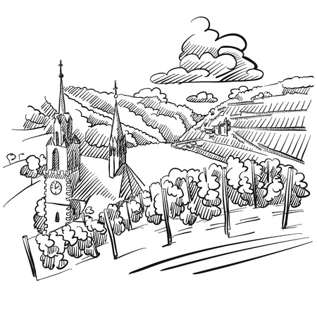 German Vineyard Sketch with Church, River and Hills, Hand drawn Vector Artwork