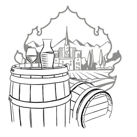 Carafe, Glass of Vine on Barrel in Front of Illustrated Farm, Hand drawn Vector Artwork 矢量图像