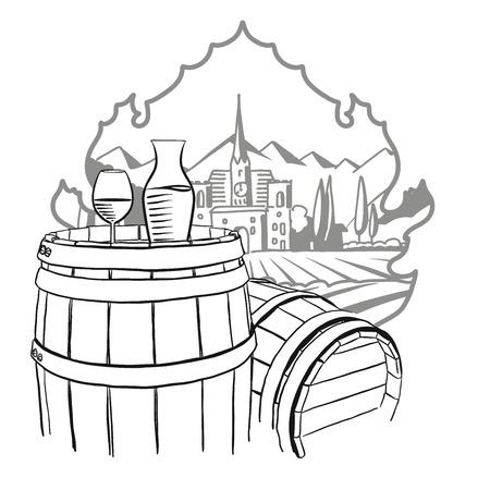 farm hand: Carafe, Glass of Vine on Barrel in Front of Illustrated Farm, Hand drawn Vector Artwork Illustration
