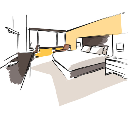 Interior Hotel Room Concept Sketch Layout, Hand drawn and coloured Vector Artwork Ilustração