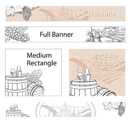wine grapes: Vineyard Travel Sketch Online Banner Layout, Hand drawn Vector Outline Artwork Illustration