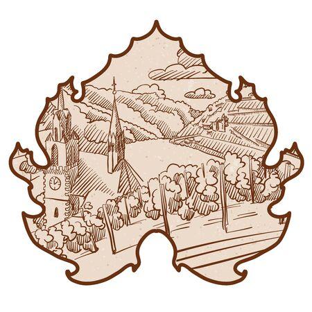 tuscany vineyard: Vintage German Vineyard Landscape Sketch in Wine Leaf, Hand drawn Vector Outline Artwork