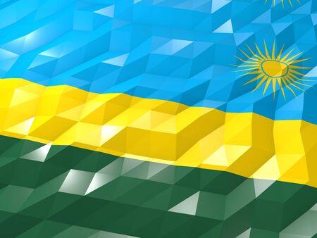national symbol: Flag of Rwanda 3D Wallpaper Illustration, National Symbol, Low Polygonal Glossy Origami Style