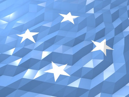 micronesia: Flag of Micronesia 3D Wallpaper Illustration, National Symbol, Low Polygonal Glossy Origami Style Stock Photo