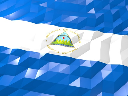 nicaragua: Flag of Nicaragua 3D Wallpaper Illustration, National Symbol, Low Polygonal Glossy Origami Style Stock Photo
