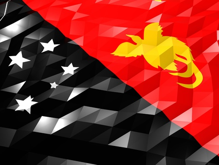 national symbol: Flag of Papua New Guinea 3D Wallpaper Illustration, National Symbol, Low Polygonal Glossy Origami Style