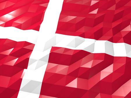national symbol: Flag of Denmark 3D Wallpaper Illustration, National Symbol, Low Polygonal Glossy Origami Style