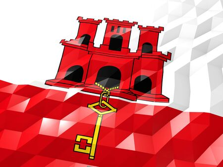 national symbol: Flag of Gibraltar 3D Wallpaper Illustration, National Symbol, Low Polygonal Glossy Origami Style Stock Photo