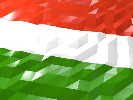 national symbol: Flag of Hungary 3D Wallpaper Illustration, National Symbol, Low Polygonal Glossy Origami Style