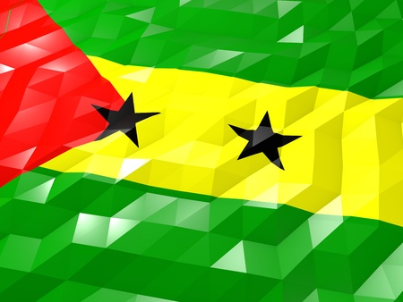 Flag of Sao Tome and Principe 3D Wallpaper Illustration, National Symbol, Low Polygonal Glossy Origami Style Stock Photo