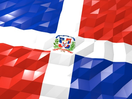dominican republic: Flag of Dominican Republic 3D Wallpaper Illustration, National Symbol, Low Polygonal Glossy Origami Style