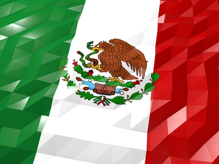 national symbol: Flag of Mexico 3D Wallpaper Illustration, National Symbol, Low Polygonal Glossy Origami Style Stock Photo