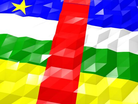 Flag of Central African Republic 3D Wallpaper Illustration, National Symbol, Low Polygonal Glossy Origami Style