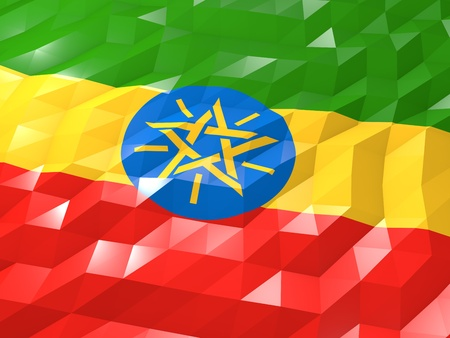 ethiopia abstract: Flag of Ethiopia 3D Wallpaper Illustration, National Symbol, Low Polygonal Glossy Origami Style