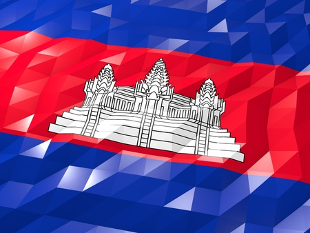national symbol: Flag of Cambodia 3D Wallpaper Illustration, National Symbol, Low Polygonal Glossy Origami Style Stock Photo