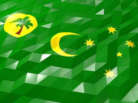 Flag of Cocos Islands 3D Wallpaper Illustration, National Symbol, Low Polygonal Glossy Origami Style