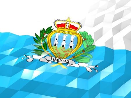 national symbol: Flag of San Marino 3D Wallpaper Illustration, National Symbol, Low Polygonal Glossy Origami Style
