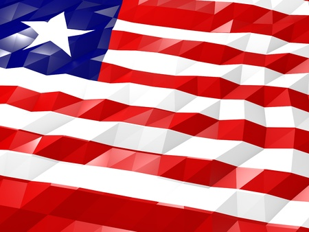 national symbol: Flag of Liberia 3D Wallpaper Illustration, National Symbol, Low Polygonal Glossy Origami Style Stock Photo
