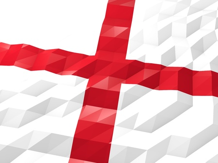 national symbol: Flag of England 3D Wallpaper Illustration, National Symbol, Low Polygonal Glossy Origami Style