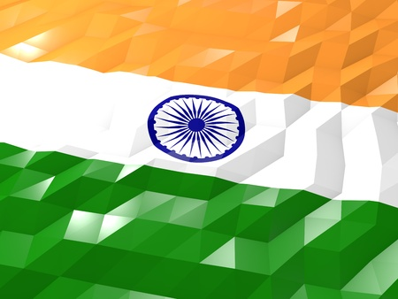 india 3d: Flag of India 3D Wallpaper Illustration, National Symbol, Low Polygonal Glossy Origami Style