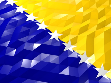 national symbol: Flag of Bosnia and Herzegovina 3D Wallpaper Illustration, National Symbol, Low Polygonal Glossy Origami Style