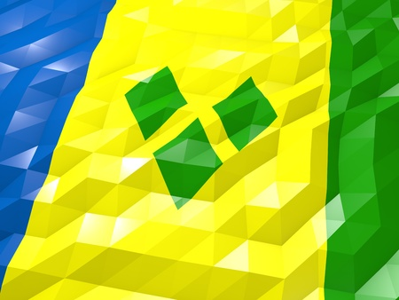 national symbol: Flag of Saint Vincent and the Grenadines 3D Wallpaper Illustration, National Symbol, Low Polygonal Glossy Origami Style
