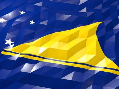 tokelau: Flag of Tokelau 3D Wallpaper Illustration, National Symbol, Low Polygonal Glossy Origami Style Stock Photo
