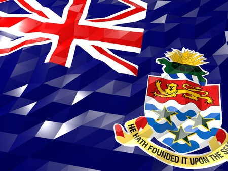 national symbol: Flag of Cayman Islands 3D Wallpaper Illustration, National Symbol, Low Polygonal Glossy Origami Style