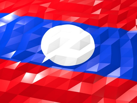 lao: Flag of Laos 3D Wallpaper Illustration, National Symbol, Low Polygonal Glossy Origami Style